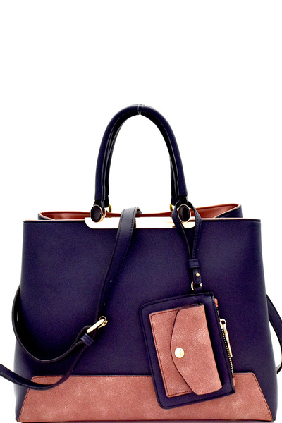 Color Block Mixed-Material Satchel with Coin Purse