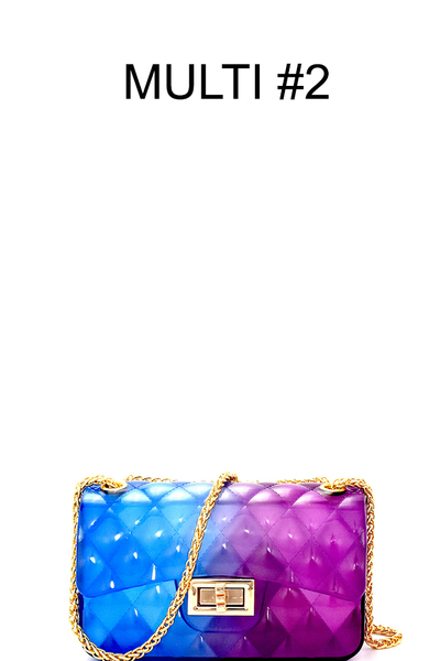 Gradated Multi-colored Jelly Small Flap Satchel Cross Body