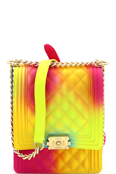 Quilted Rainbow Jelly 2 Way Chain Shoulder Bag