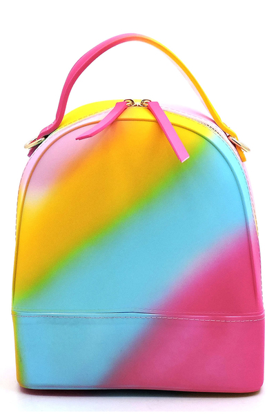 Multi Spray Printed Convertible Jelly Backpack