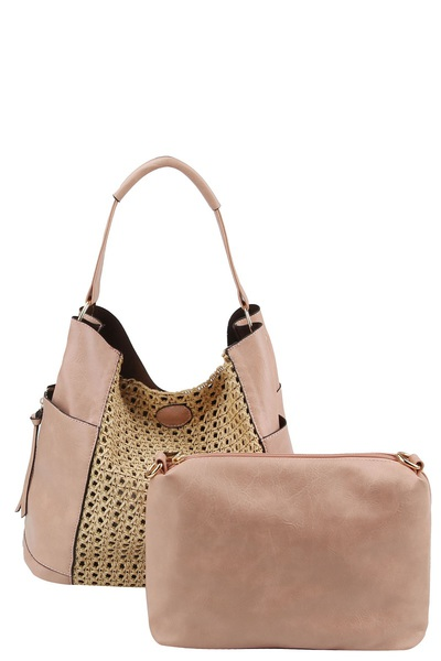 Weaved Straw Colorblock 2-in-1 Shoulder Bag Hobo