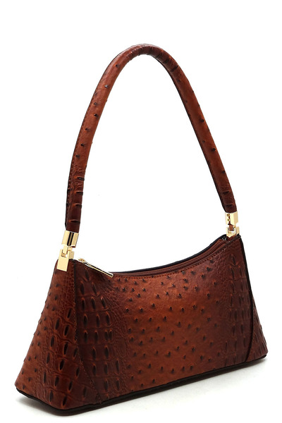 Ostrich Croc Classic Shoulder Bag
