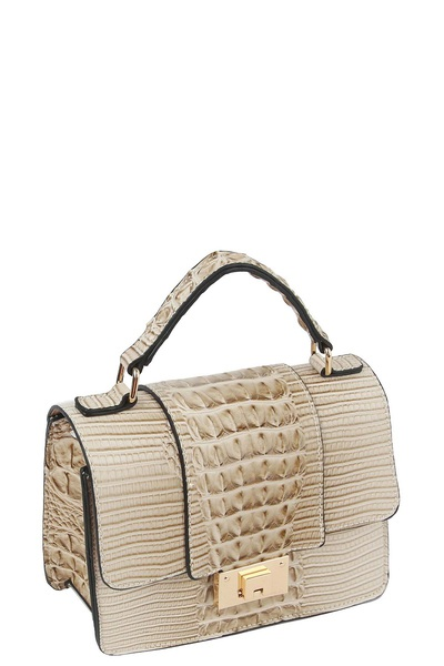 Croc Alligator Flap Crossbody Satchel