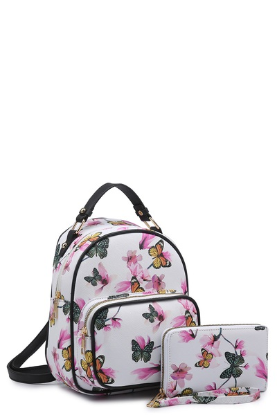 Butterfly Flower Printed 2-in-1 Backpack