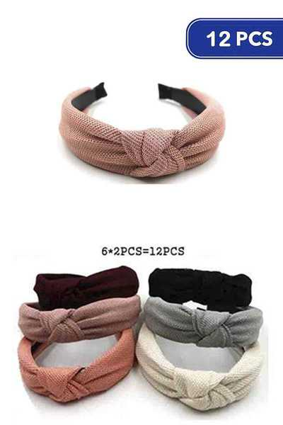 FASHION SOLID COLOR MID KNOT HEADBAND 12 PC
