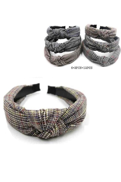 GLEN PLAID PRINTED KNOTTED HEADBAND
