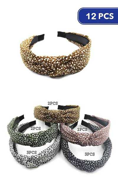 FASHION LEOPARD PRINT MID KNOT HEADBAND 12 PC