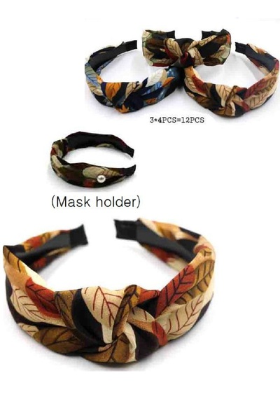 LEAF PRINTED KNOTTED HEADBAND WITH MASK HOLDER