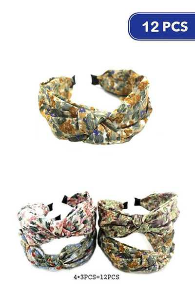 FASHION FLOWER PATTERN MID KNOT HEADBAND 12 PC