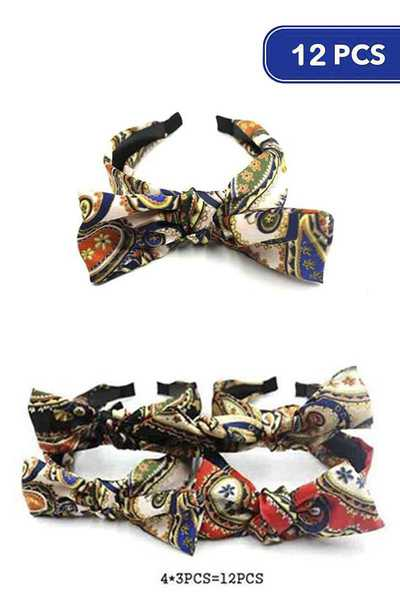 FASHION PRINT MID KNOT HEADBAND 12 PC