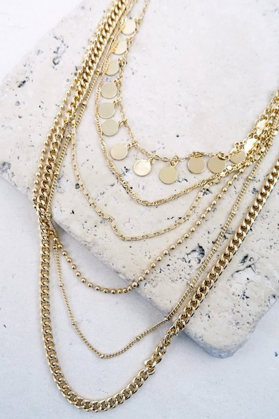 DISC CHAIN LAYERED NECKLACE