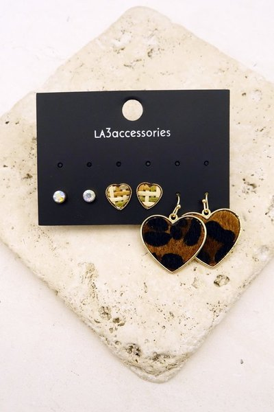 HEARTS TRIO EARRING