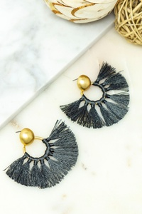 LOVELY ROUND TASSEL EARRINGS