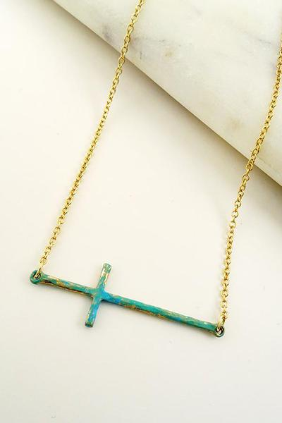 PATINA HORIZONTAL CROSS NECKLACE
