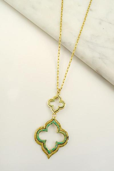 PATINA DOUBLE CLOVER DROP NECKLACE