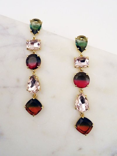 MULTI COLORED STONE DROP EARRING