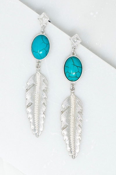 Casting Feather And Natural Stone Long Earrings