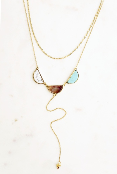 LAYER Y NECKLACE WITH HALF CIRCLE NATURAL STONES