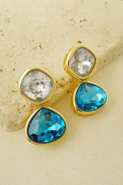 GEO STONE DROP EARRING