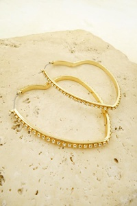 HEART SHAPED RHINESTONE HOOP EARRING