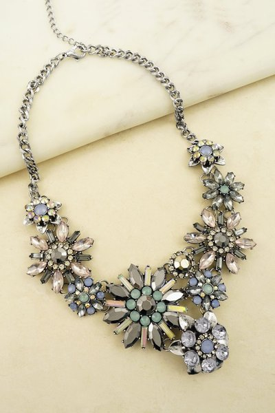 Flower Casting Statement Necklace
