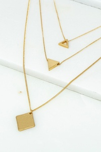 THREE LAYER GEO SHAPE CHARM NECKLACE