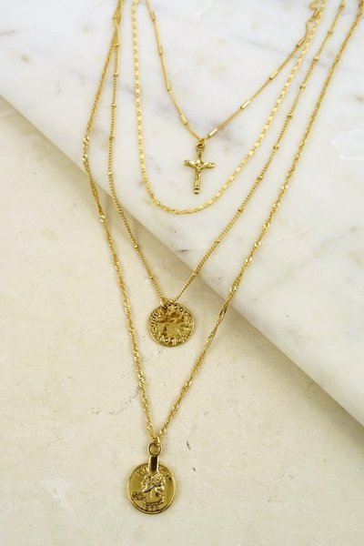 COIN AND CROSS LAYERED NECKLACE