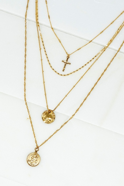 MULTI LAYER DELICATE CHAIN COIN AND CROSS NECKLACE