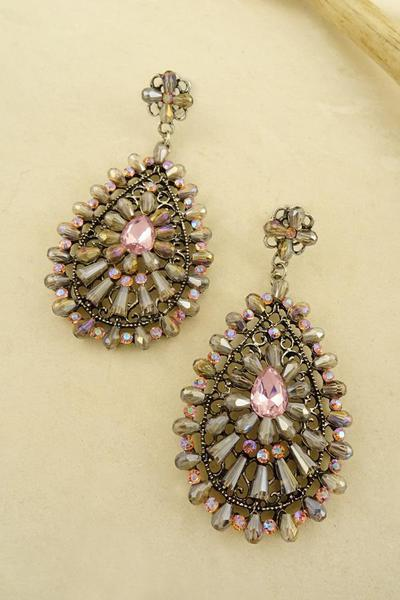 TEARDROP GLASS BEAD CASTING EARRING