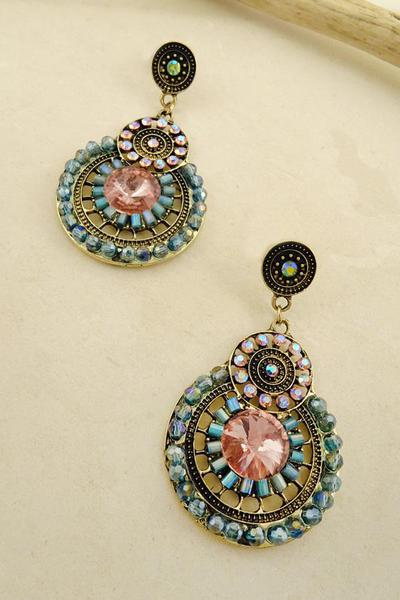 ROUND DISK BEADED EARRINGS