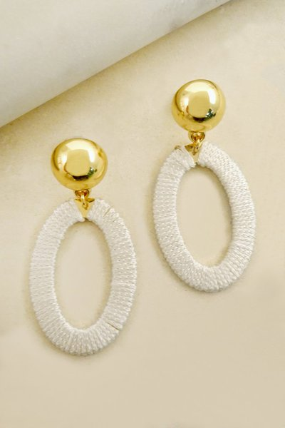 WRAPPED OVAL HOOP EARRINGS