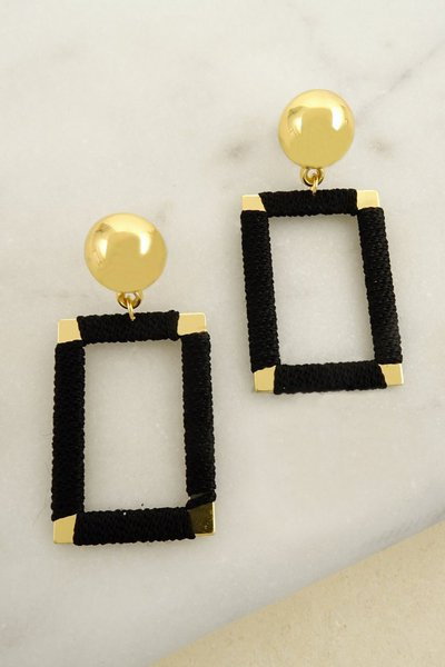 WRAPPED RECTANGULAR HOOP EARRING