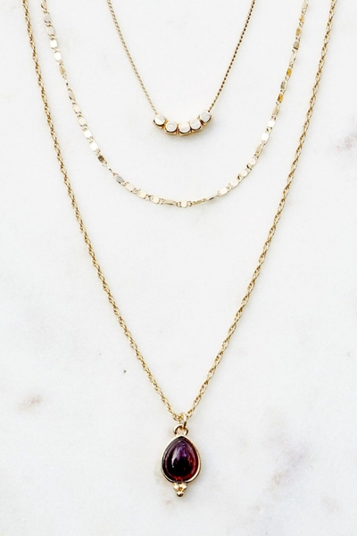 3 LAYER DELICATE CHAIN NECKLACE WITH PURPLE JADE