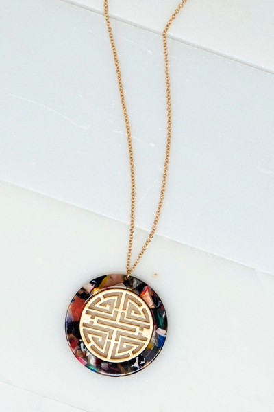 GEO SHAPE FILIGREE METAL CASTING NECKLACE
