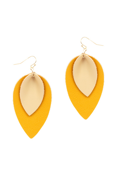 Layered Leaf Shape Leather Earring