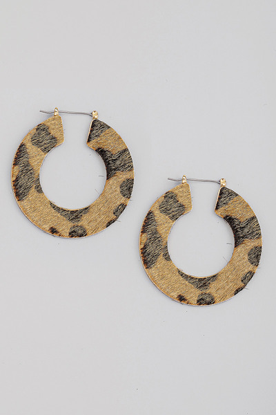 Leopard Print Circle Hoop Earrings
