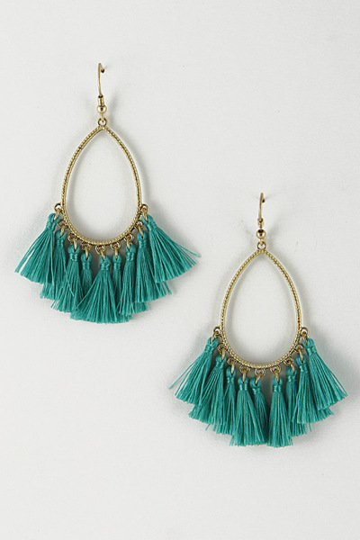 Metallic Teardrop Open Cut Earrings With Tassels