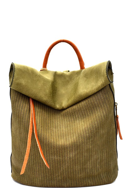 Two-Tone Textured Roll-Up Flap Backpack