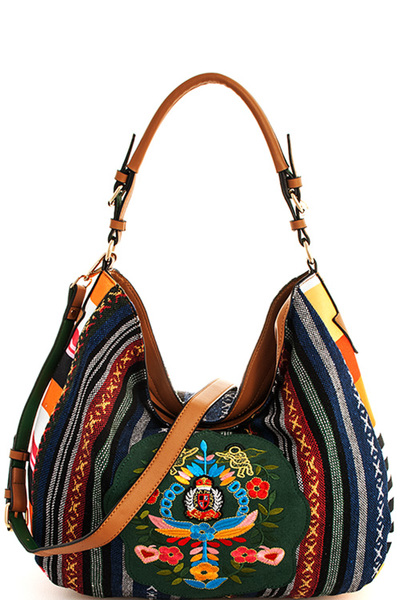 Designer Chic Embroidered Hobo Bag with Long Strap