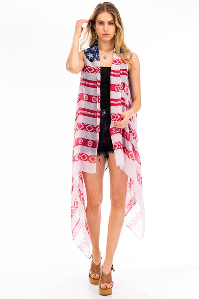 AMERICAN FLAG PRINT FASHION VEST