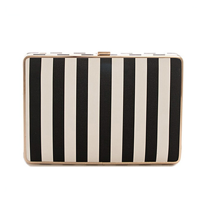 Striped Hard Case Evening Clutch