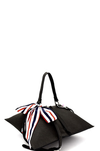 Bow Accent Uniquely Folded Novelty Satchel