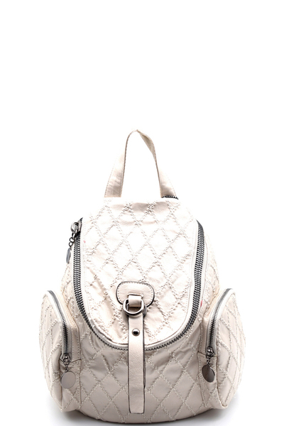 Stitched Checker Pattern Fashion Vintage Backpack