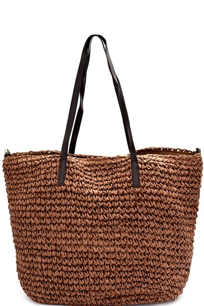 Knitted Straw 2-Way Large Shopper Tote