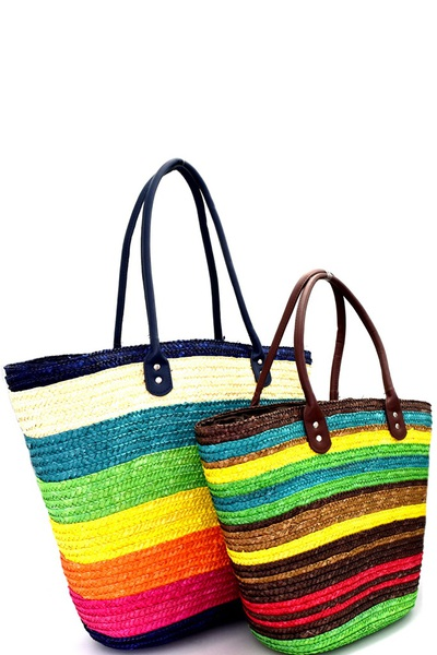 Multi-Color Stripe Patterned Straw 2 in 1 Twin Tote SET