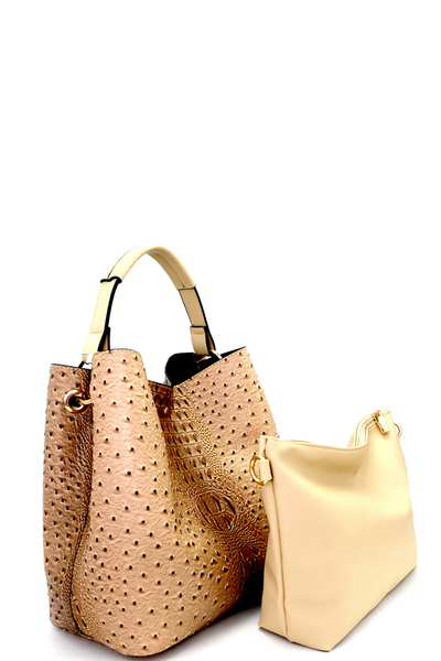 Ostrich Print Embossed 2 in 1 Hobo