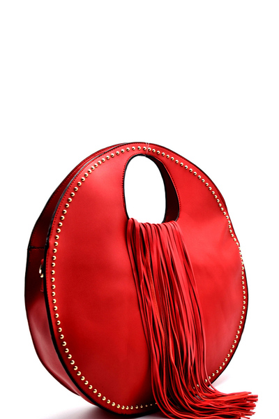 Stud Embellished Fringed Round Satchel