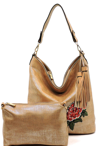 Textured Sequin Embroidered Flower 2-in-1 Bucket Hobo