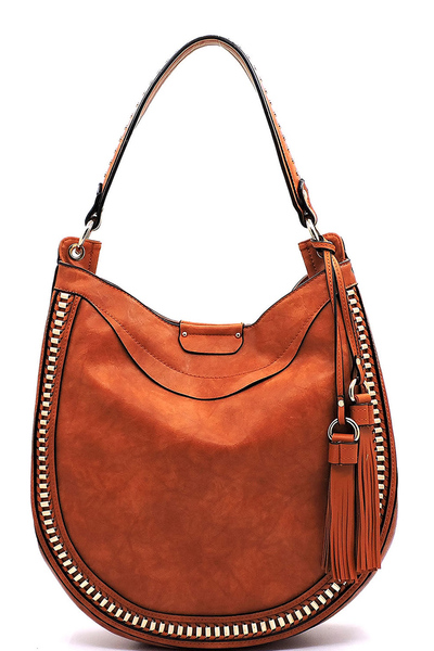 Hardware Woven 2 Way Tassel Hobo