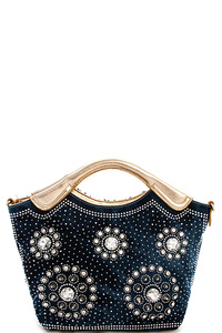 Trendy Multi Rhinestone Woven Satchel with Long Strap